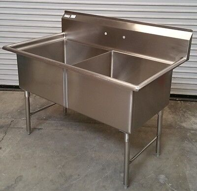 New 2 Compartment 24x24 Sink All Stainless Steel 2639 Commercial Food Nsf Dish