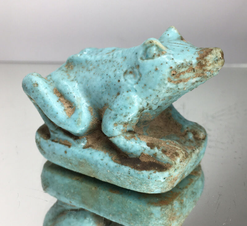 Very Rare Ancient Egypt Heqet Frog Figurine Totem Fetish Blue Faience Egyptian