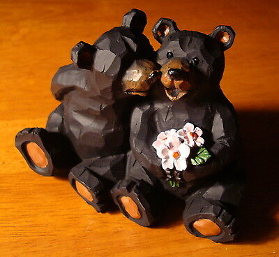 Snuggling Black Bears Kissing Figurine Cake Topper Lodge Cabin Home Decor NEW - Bears Decorations
