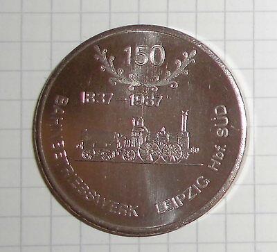 medaille bahnhof leipzig hbf.süd bahnbetriebswerk 1837-1987 königreich sachsen