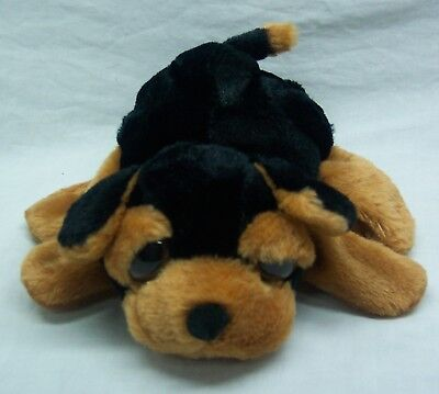 "Caltoy VERY SOFT BROWN & BLACK PUPPY DOG HAND PUPPET 9"" Plush STUFFED ANIMAL Toy"