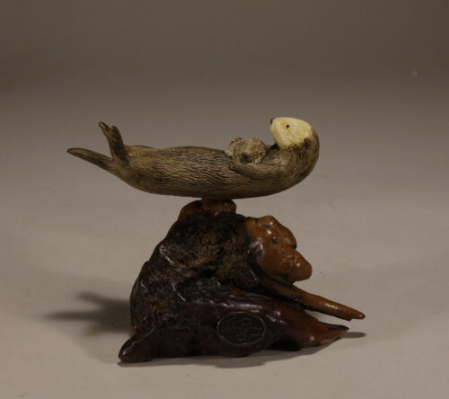 SEA OTTER & PUP by John Perry 5in long Sculpture New direct from Statue