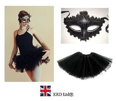Ladies BLACK GOTHIC SWAN BALLERINA Halloween Masquerade Fancy Dress Tutu Costume
