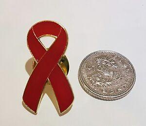 """AIDS Awareness Red Ribbon Ribbon Brooch / Tac Pin 1"""" BRAND NEW UK Seller"""