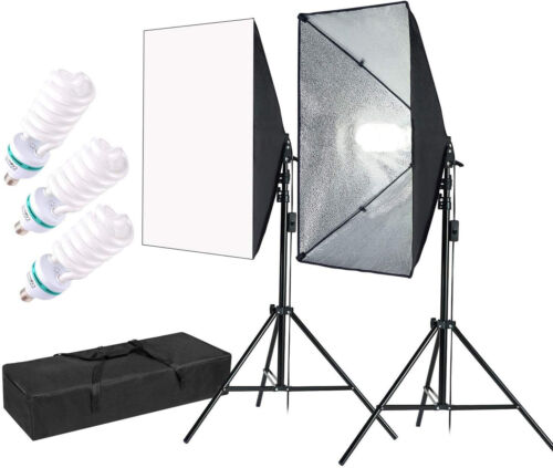 MountainDog 1350W Professional Photography Softbox with 3pcs E27 5500K Bulbs