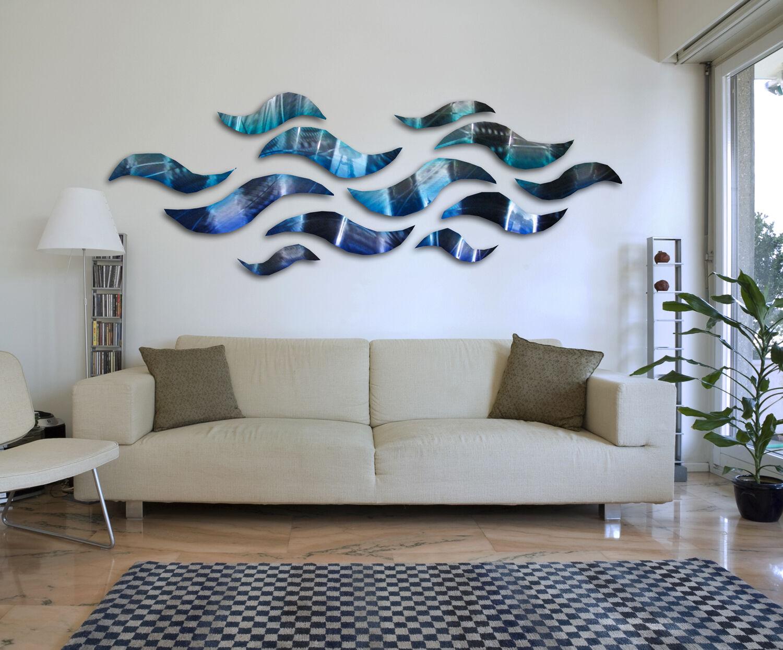 Rip tide blue metal wall art sculpture modern abstract for Ocean home decor