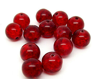 50 Red Glass Crackle Beads 10mm Jewellery Making J04181