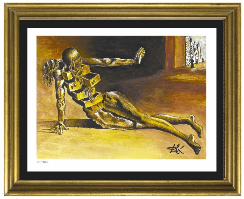 "Salvador Dali Signed/Hand-Numbr Ltd Ed""Anthropomorphic Cabinet"" Print (unframed)"