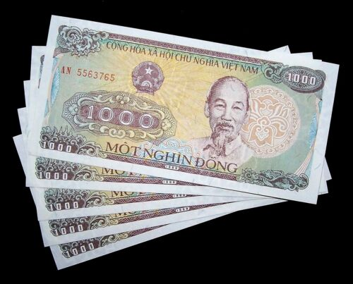 5 pcs x VIETNAM 1000 Dong, 1988, P-106, UNC World Currency Banknotes