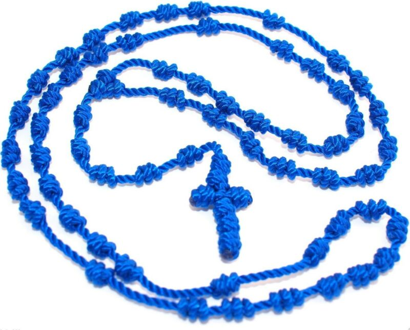 Rosary Necklace knotted cord rope Rosarie blue beads necklace cross