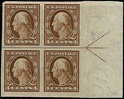 #346 RIGHT SIDE ARROW BLOCK 1909 4c IMPERF ISSUE MINT-OG/HINGED