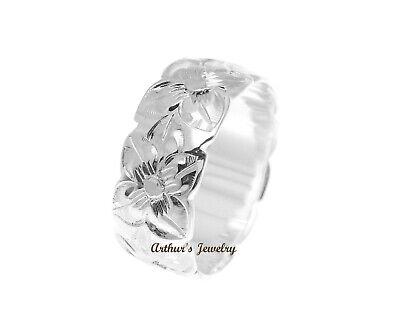 STERLING SILVER 925 HAWAIIAN PLUMERIA FLOWER ALL AROUND 8MM BAND RING 8mm Band Sterling Silver Ring
