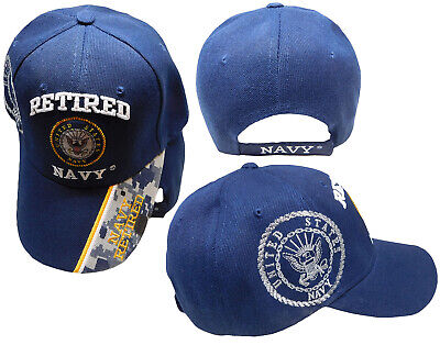 US Navy Retired USN Blue Digital Camo Tip Ball Shadow Cap Embroidered 3D Hat