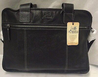 Leather Zip Brief - Johnston & Murphy EST. 1850 Leather Zip Top Brief 15261 Black
