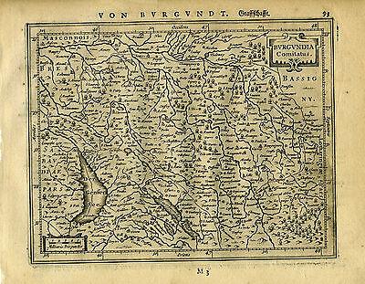 1651 Genuine Antique map East France. Burgundia. Mercator Jansson