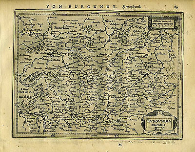 1651 Genuine Antique map Central France. Burgundia. Mercator Jansson
