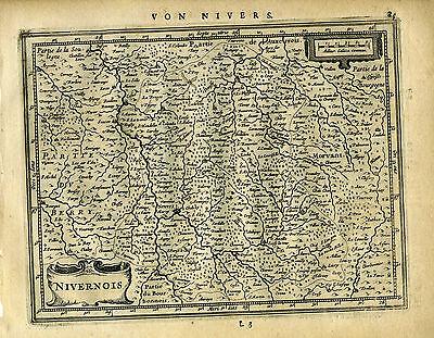 1651 Genuine Antique map central France, Nivernois. Mercator Jansson