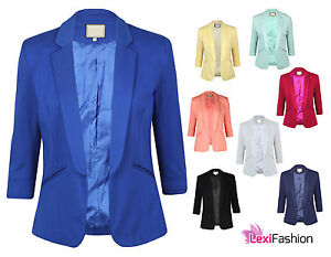 NEW-LADIES-WOMENS-SMART-SLIM-SUIT-BLAZER-JACKET-COAT-SIZE-3-4-SLEEVE-8-16