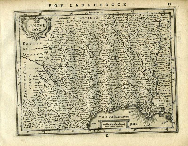 1651 Genuine Antique map of SE France. Languedock. Mercator Jansson