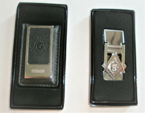 2, Masonic Money clips = 1 Leather Money Clip + 1 Stainless Steel, in gift box
