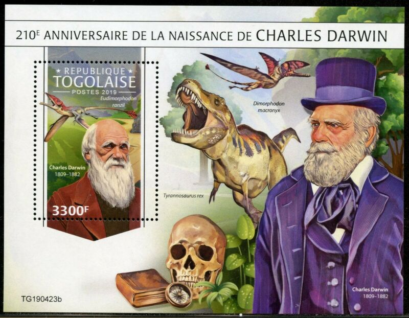 TOGO 2019 210th BIRTH OF CHARLES DARWIN SOUVENIR SHEET MINT NEVER HINGED