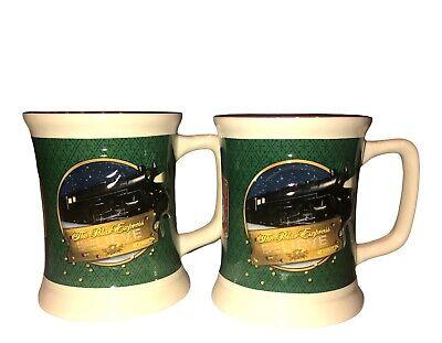 "The Polar Express Embossed Coffee Mug Set ""Believe"" Warner Brothers Movie Green"