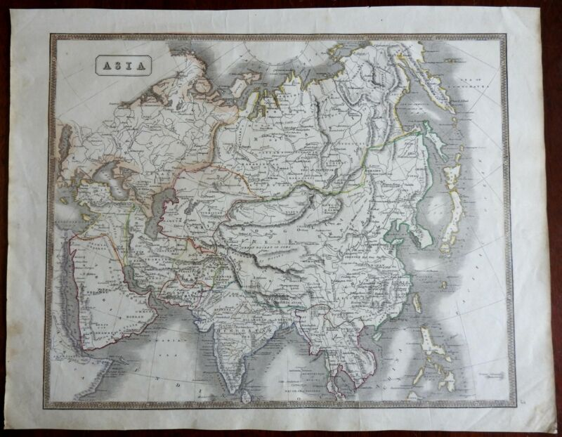 Asia Continent Ottoman Empire Arabia China India Japan Korea 1846 scarce map
