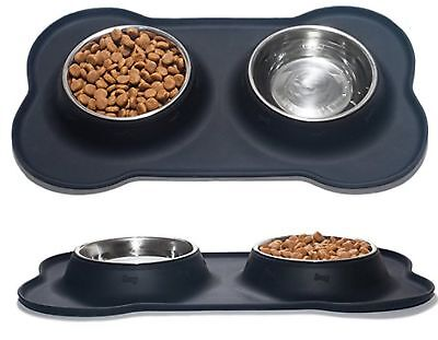 Nighthawk Small Dog | Cat Bowls Set of 2 Stainless Steel Bowls with Non-Skid ...