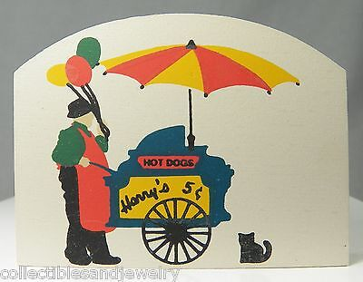 Cat's Meow Village Collectible Accessory Harry's Hot Dog Stand Vendor NOS