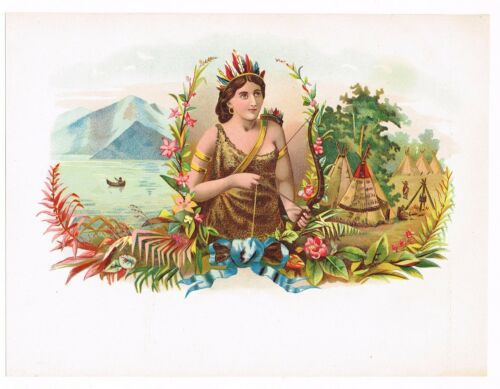 CIGAR BOX LABEL VINTAGE INNER CHROMOLITHOGRAPHY C1890 INDIAN GIRL ARCHERY BOW E9