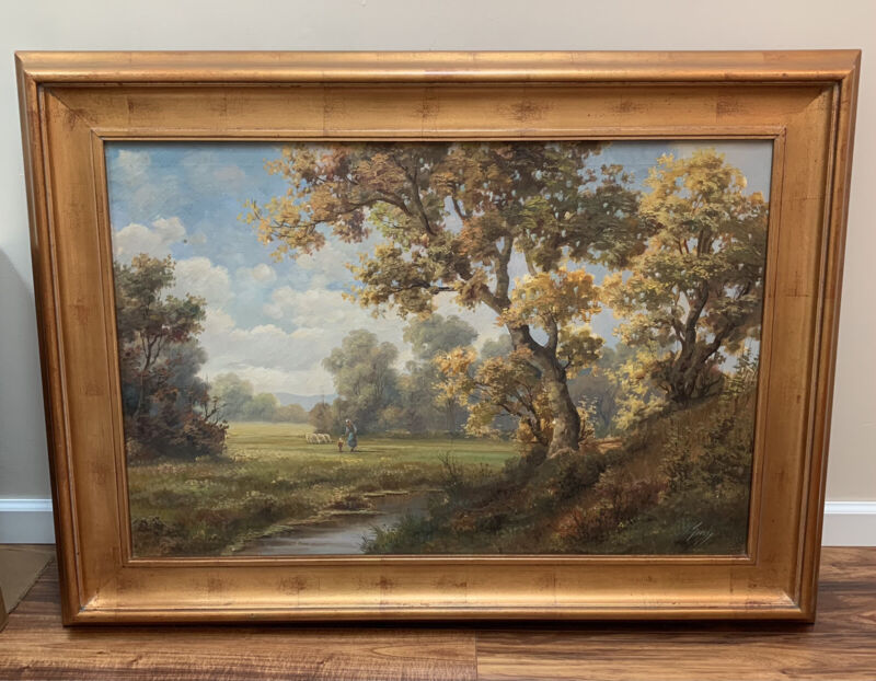 Large Vintage Oil On Canvas Painting Woman With Child Landscape Scene Signed