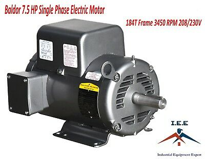 New Baldor 7.5 Hp Electric Motor 3450 Rpm 184 T Frame 1 Ph Single Phase 208230v