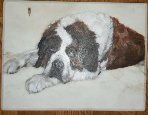 """Vintage Saint Bernard Dog Hand Painted on White Marble Slab 12½"""" x 9½"""" 1979"""