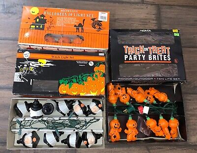 Vintage Lot of 3 Halloween String Lights~Blow Mold in Box