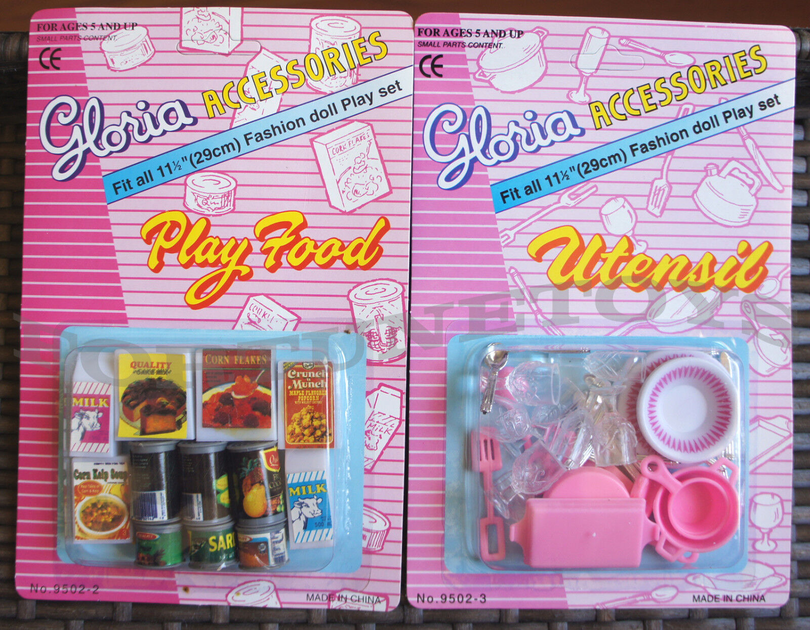 GLORIA DOLL HOUSE FURNITURE Fridge Food Accessories SET+Utensil Set BARBIE SIZE