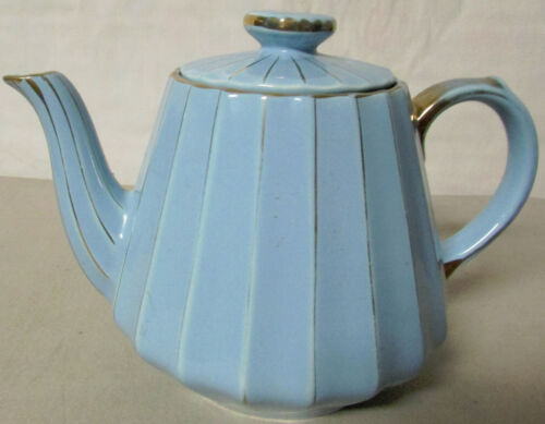 Rare Vintage Sadler Art Deco geometric lines Teapot England trimmed with gold