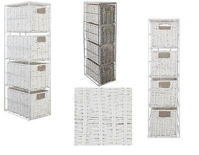 Large 4 Drawer Basket Rattan Effect Bathroom Shelf Bath Accessory Storage Unit ()