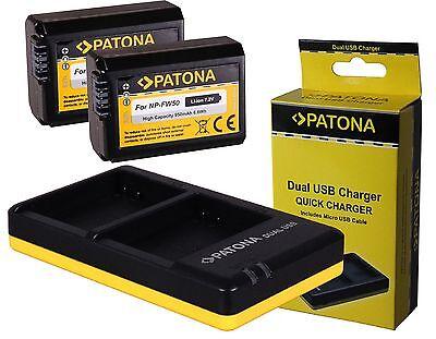2x Akku NP-FW50 inkl. Doppel Dual Ladegerät Sony Alpha a6000 ILCE-6000