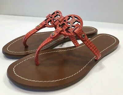 Tory Burch Mini Miller Orange/Red Leather Thong Sandals Flats Slides Sz 6 M