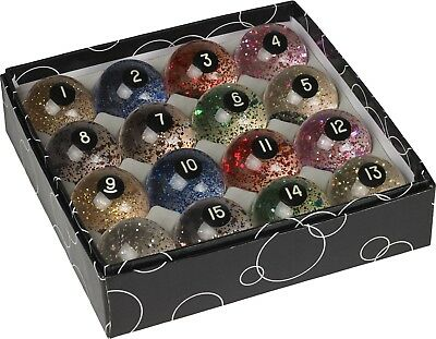 Manner Glitter Pool Balls Set Billiards Ball Complete Sets w/ FREE Shipping