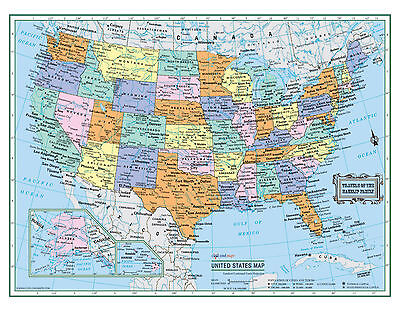 Usa United States Wall Map 22 X17  Large Print Laminated Personalized 2018