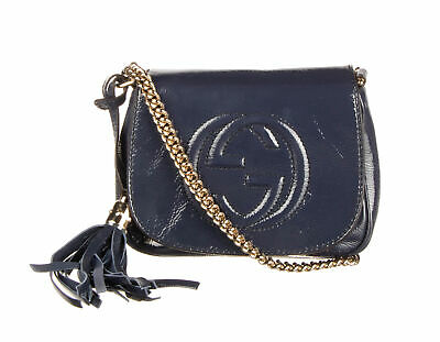 GUCCI Navy Blue Patent Leather Soho Chain Shoulder Bag