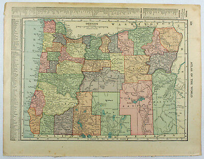 Oregon Original Vintage CS Hammond Antique 1918 Indexed Geography Engraved Map
