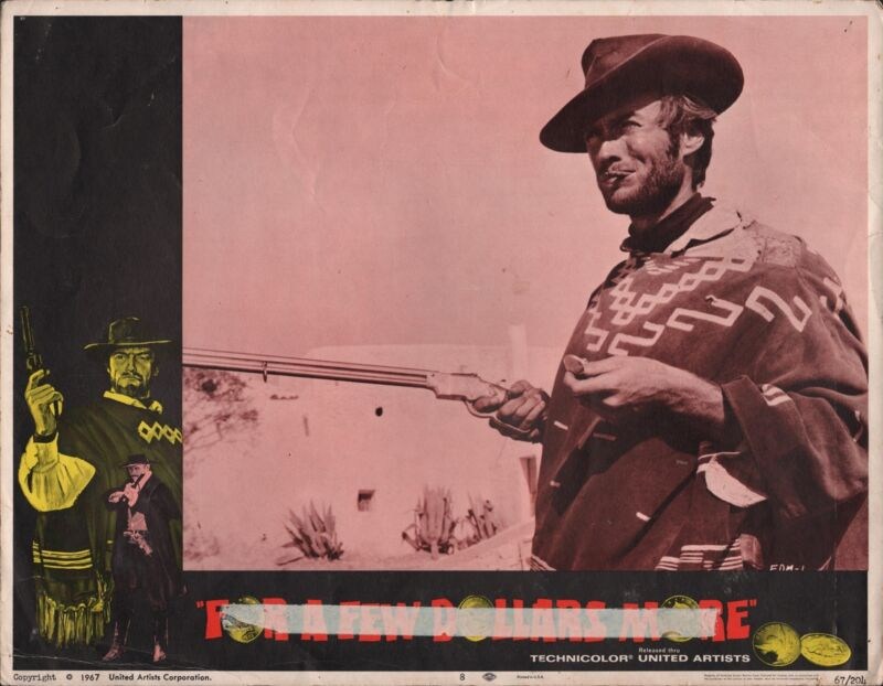 """CLINT EASTWOOD in """"For a Few Dollars More"""" - Original Vintage LOBBY CARD - 1967"""