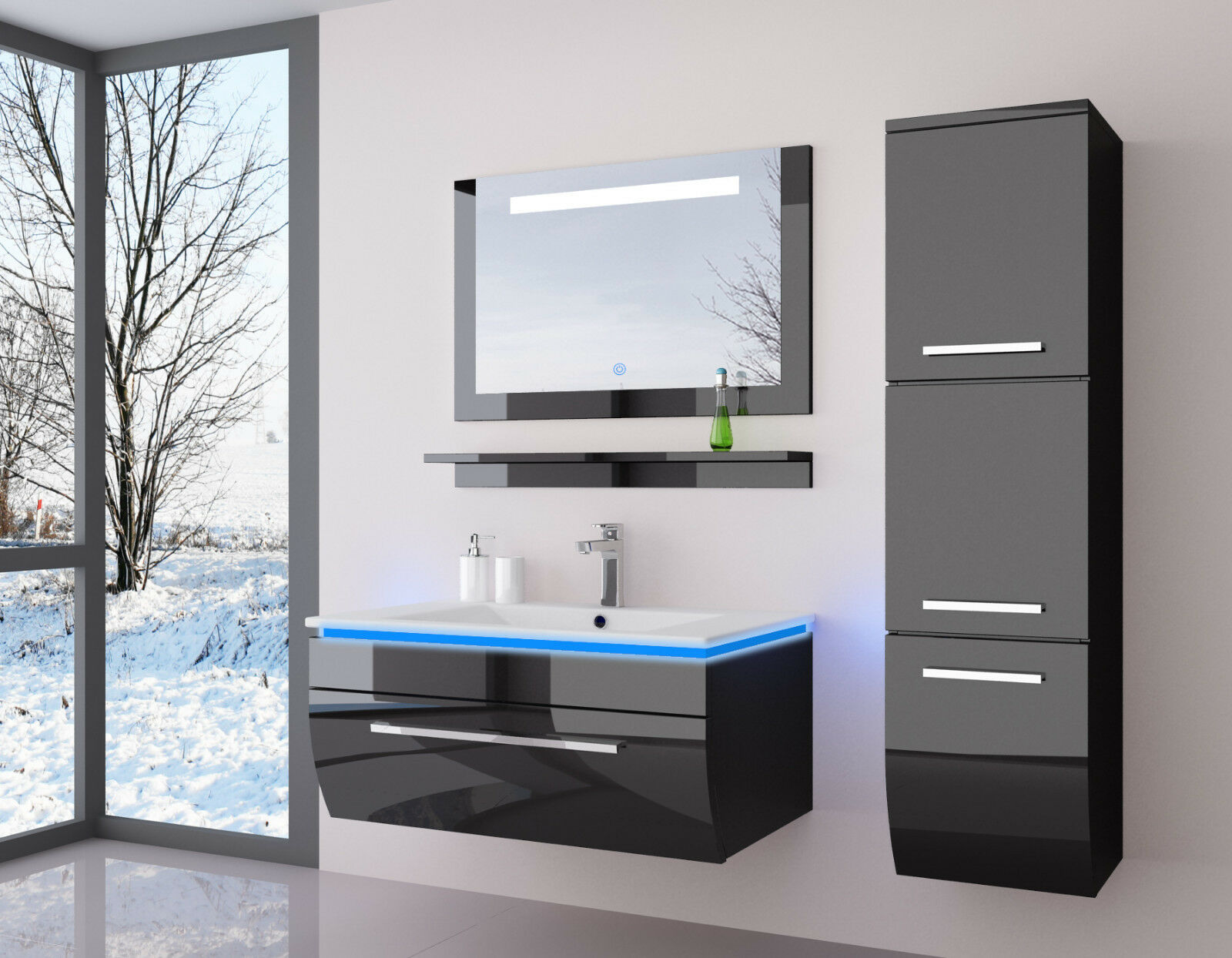 Badmöbel 120 cm Eiche LED Spiegel Aufsatzwaschbecken