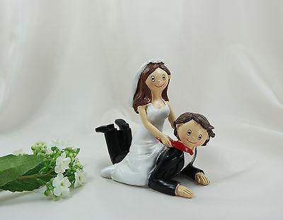 Deko-Brautpaar Tortenfigur Hochzeitspaar Braut auf Bräutigam Hochzeit 14 cm