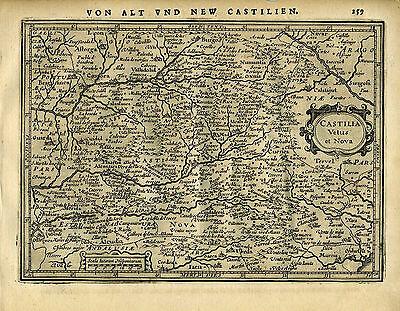 1651 Genuine Antique map central Spain, Madrid, Castilia. Mercator/Jansson