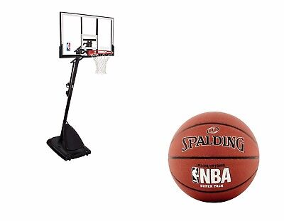 "Spalding 54"" Portable Basketball System Adjustable Hoop Backboard New Free Ball"