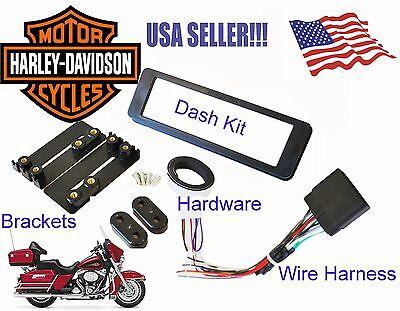 Harley Davidson Touring Radio Stereo CD Dash Install Kit Wiring Harness Adapter