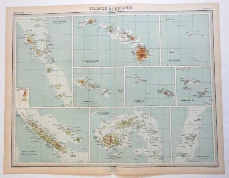 Islands of Oceania Hawaii Samoa Tonga Fiji New Caledonia 1922 Bartholomew map